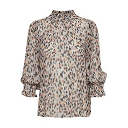 Part Two Printed Blouse With Frill Neckline Beige