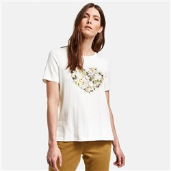 Gerry Weber Top With Flower Heart Motif Off White