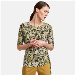 Gerry Weber Floral Top With Ruffle Detail Khaki