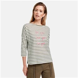 Gerry Weber Stripe Top With Letter Print Khaki