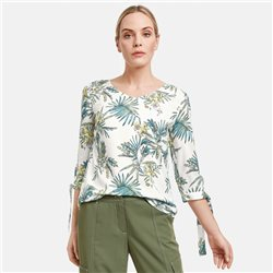 Floral Blouse With Bow Details Off White