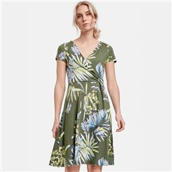 Taifun Florwer Print Jersey Dress Green