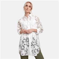Taifun Long Blouse With A Transparent Floral Design Off White