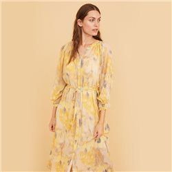 Part Two Hoang Patterned Dress Lemon