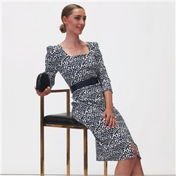 Fee G Spot Print Dress With Belt Navy