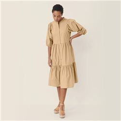 Part Two Cotton Frill Dress Beige