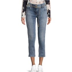 Betty Barclay Crop Jeans With Chain Belt Denim Blue