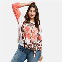 Samoon Top With Satin Front Print Coral