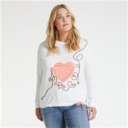 Samoon Top With Heart Off White