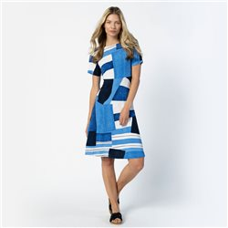 Marble Abstract Stripe Dress Blue