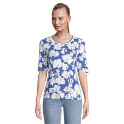 Betty Barclay Floral Print Top With Ribbed Neckline Blue