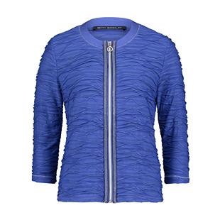 Wave-Effect-Zip-Jacket-Blue