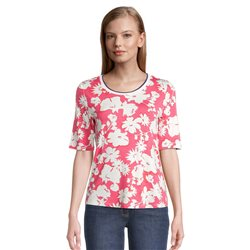 Betty Barclay Floral Print Top With Ribbed Neckline Coral