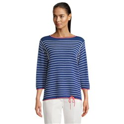 Betty Barclay Stripe Jumper With Tie Front Blue