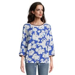 Betty Barclay Floral Blouse With Tie Front Blue