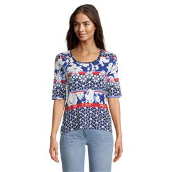 Betty Barclay Flower Print Top Blue