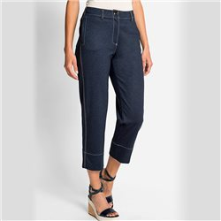 Olsen Mona Straight Cropped Trousers Deep Blue Denim
