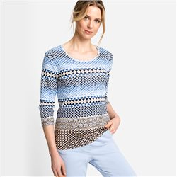 Olsen Geometric Print Top Blue