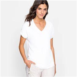 Olsen V Neck Silky Front Top Off White