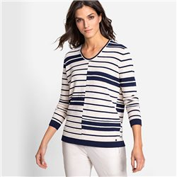 Olsen V-Neck Jumper With Abstract Stripe Pattern Navy