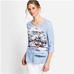 Olsen Top With Placement Print Blue