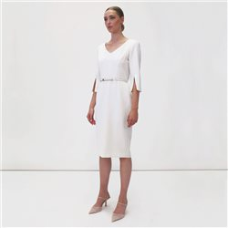 Fee G Dress With Slit Cuffs Cream