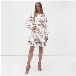 Fee G Floral Print Dress White