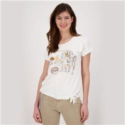 Monari Top With Dressing Room Print Off White