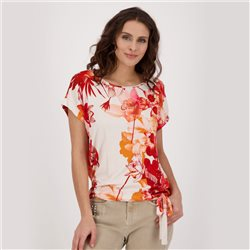 Monari Floral Print Top With Tie Detail Coral