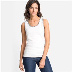 Olsen Polka Dot Trim Vest Top Off White