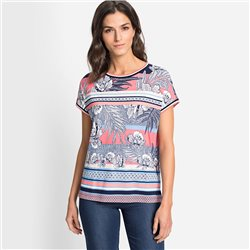 Olsen Exotic Flower Print Top Coral