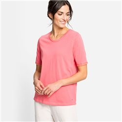 Olsen Top With Mesh Trim Detail Coral