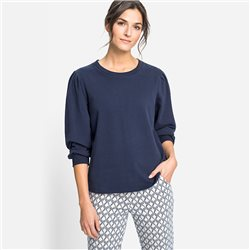 Olsen Sweater With Ruched Shoulders Navy