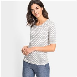 Olsen Rope Print Top Off White