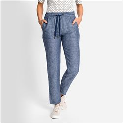 Olsen Lisa Straight Fit Linen Trousers Denim Blue