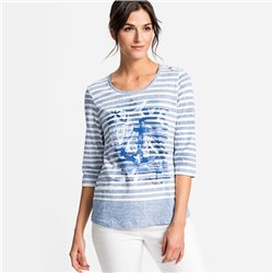 Olsen Stripe Top With Anchor Print Blue