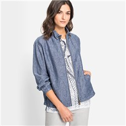 Olsen Linen Jacket With Zip Front Blue