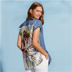 Taifun Blouse With Tropical Print Denim Blue