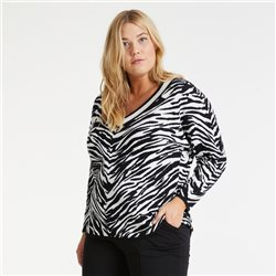 Samoon V Neck Zebra Print Jumper Black
