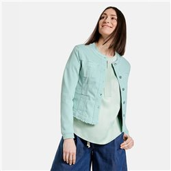 Gerry Weber Denim Jacket With Fringe Hem Aqua