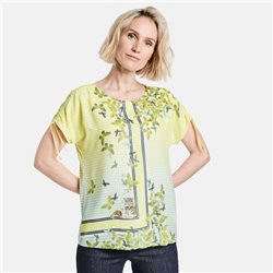 Gerry Weber Butterfly Print Top With Tie Sleeves Lemon