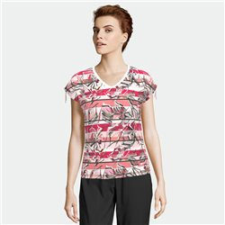 Lebek V Neck Floral And Stripe Top Raspberry
