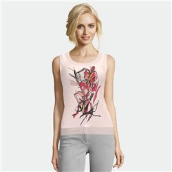 Lebek Vest Top With Floral Motif Rose