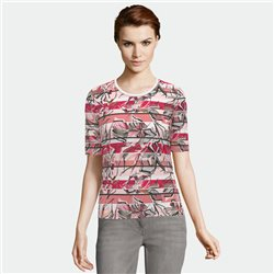 Lebek Stripe And Flower Print Top Rose