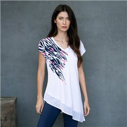 Marble Print Top With Asymmetric  Hem White