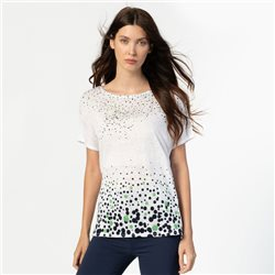 Marble Scattered Spot Print Top White