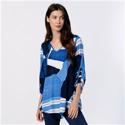 Marble Graphic Print Tunic Top Blue