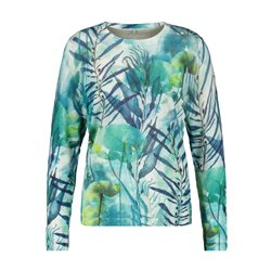 Gerry Weber Leaf Print Linen Jumper Green
