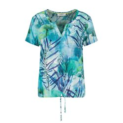Gerry Weber V Neck Leaf Print Blouse Green