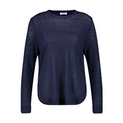 Gerry Weber Round Neck Linen Jumper Navy